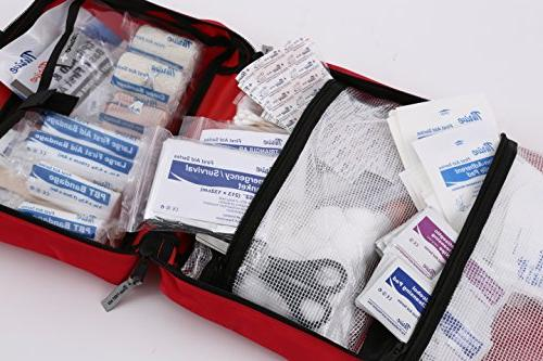 First Aid 291 Bag. Packed medical supplies and for the Car, Hiking, Travel, Pets, Home