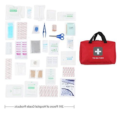 First 291 Pieces Packed medical emergency and survival situations. for Hiking, Travel, Office, Pets, Home