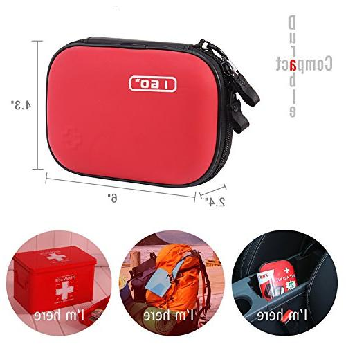I GO Compact Aid Kit Hard Shell for Camping, Travel, Car 85 Pieces