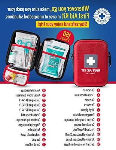 First Aid Emergency 150 - Camping, Hiking - Red Case Fully w/Medical