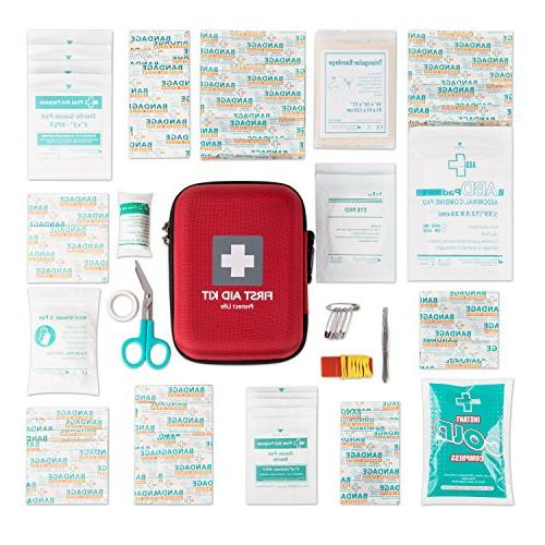 First Aid Emergency 150 Piece - Camping, or Office - Reflective Red Case w/Medical