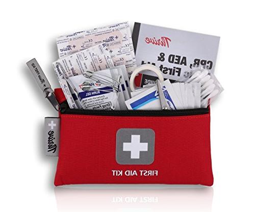First Aid Kit 66 Pieces and Light - for Emergency, Hiking, Backpacking, & Cycling. prepared at Home & Work
