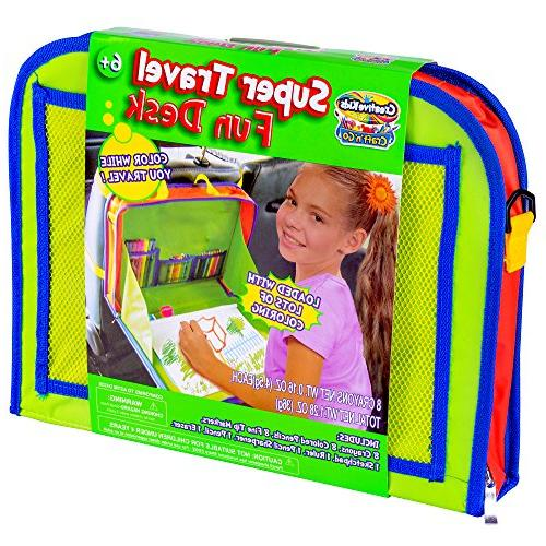 Creative Kids Travel Desk – Seat Tray Organizer w/Drawing Coloring Set – Backpack Activity Station Tablet, Crafts & Other - Kit