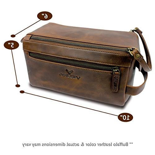 Velino Genuine Buffalo Leather Toiletry Travel Dopp Kit and ~ Pouch Bathroom Makeup Case