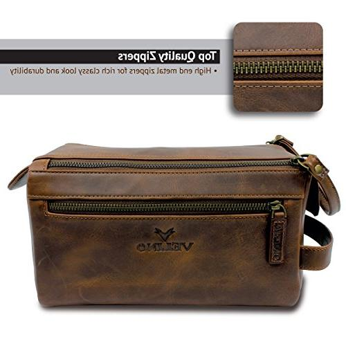 Velino Handmade Genuine Leather Unisex Travel Dopp Kit and Gift for Men ~ Cosmetic Pouch ~ Makeup Case