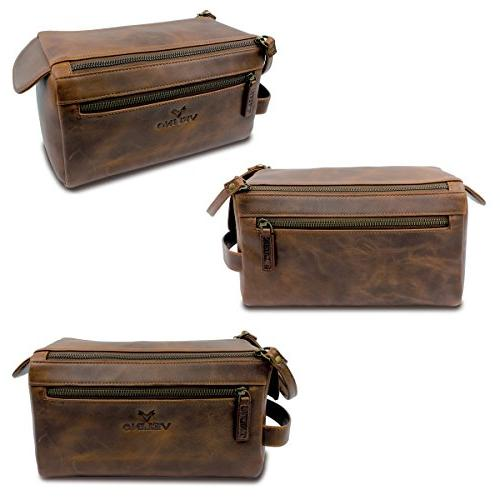 Velino Genuine Leather Unisex Travel and Gift ~ Zippered Pouch Makeup Case