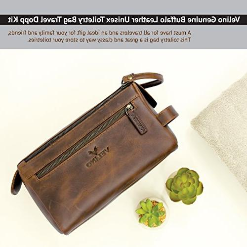 Velino Leather Travel Dopp and Kit ~ Gift ~ Hanging Zippered Pouch ~ Bathroom Makeup Case
