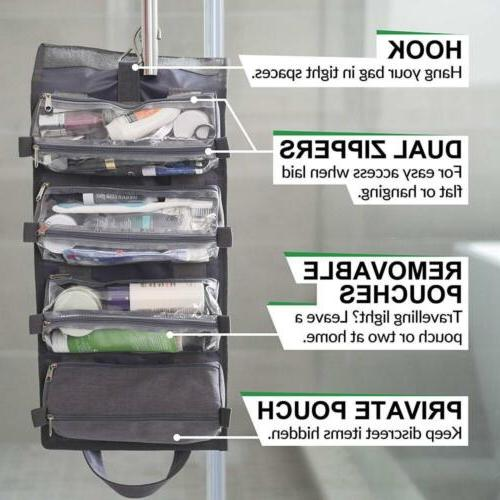 Hanging Toiletry Travel Organizer Roll Kit Carry Grey