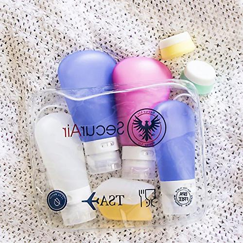 Leak Set, Portable TSA Carry-On Approved & Silicone Size toiletries Cosmetic Easy-to-Fill Travel Shampoo Bottles