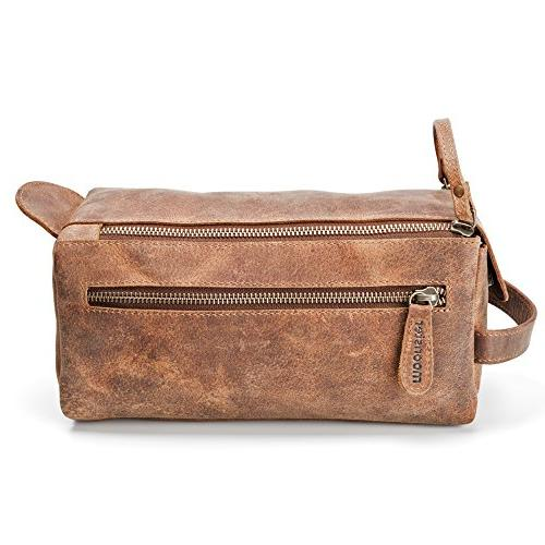 Leather Toiletry Men and Thicker Than Other Bags - Vintage is Small, Sturdy Water All Your Travel Toiletries in