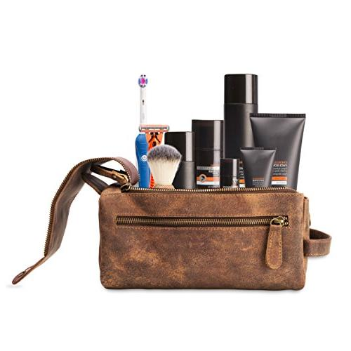 Leather Toiletry Men - and Thicker Bags - This Handmade Vintage Mens is Small, Water Resistant - All in Style