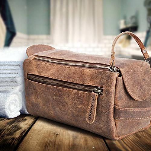 Leather Toiletry For Men and Thicker Bags This Handmade Vintage Mens Kit is Small, Sturdy Water Resistant - All Your Travel in