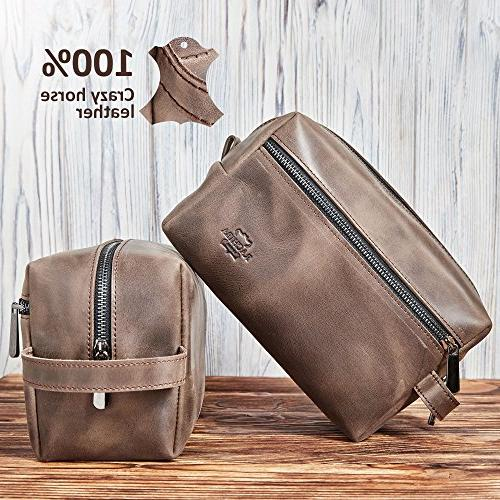 Leather Toiletry Bag Dopp Shaving and for Travel, Cosmetic Pouch Case Brown Idea for