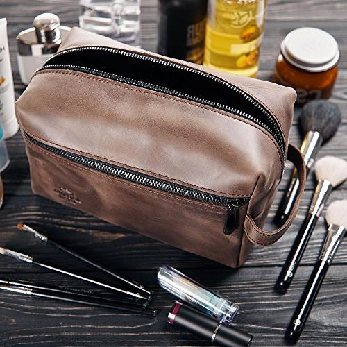 Leather Toiletry Dopp Kit Mens Toiletry Shaving and Grooming Kit for Travel, Pouch Brown Leather Idea for Men
