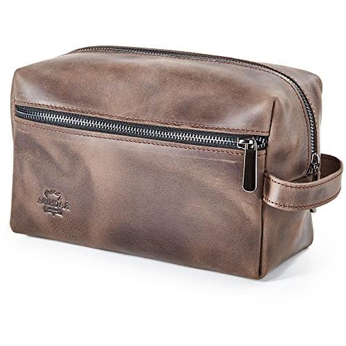 Leather Toiletry Kit - Mens Leather Bag, Shaving for Travel, Bathroom Pouch - Brown Leather Idea Men
