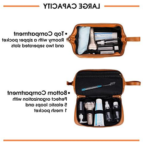 Large Mens Toiletry Bag Perfect Travel or Gift, Includes BONUS 6 Size Bottles in Clear