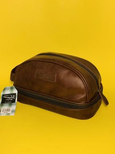 mens toiletry shaving travel brown charger case