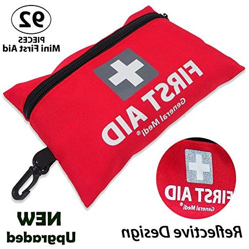 General Aid Kit,92 Includes Face Mask,Scissors for Travel, Home, Workplace
