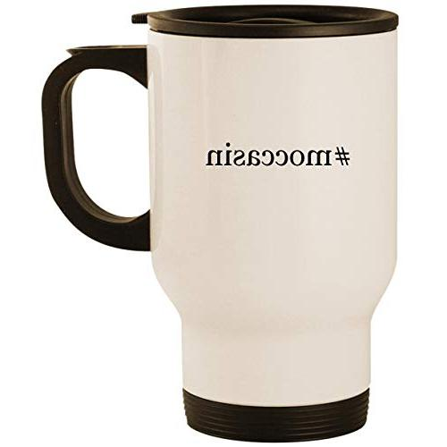 #moccasin - Stainless Steel 14oz Road Ready Travel Mug, Whit