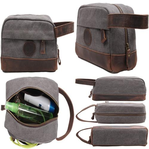 msg vintage leather canvas travel toiletry bag