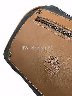 Timberland Blue Brown Leather Toiletry