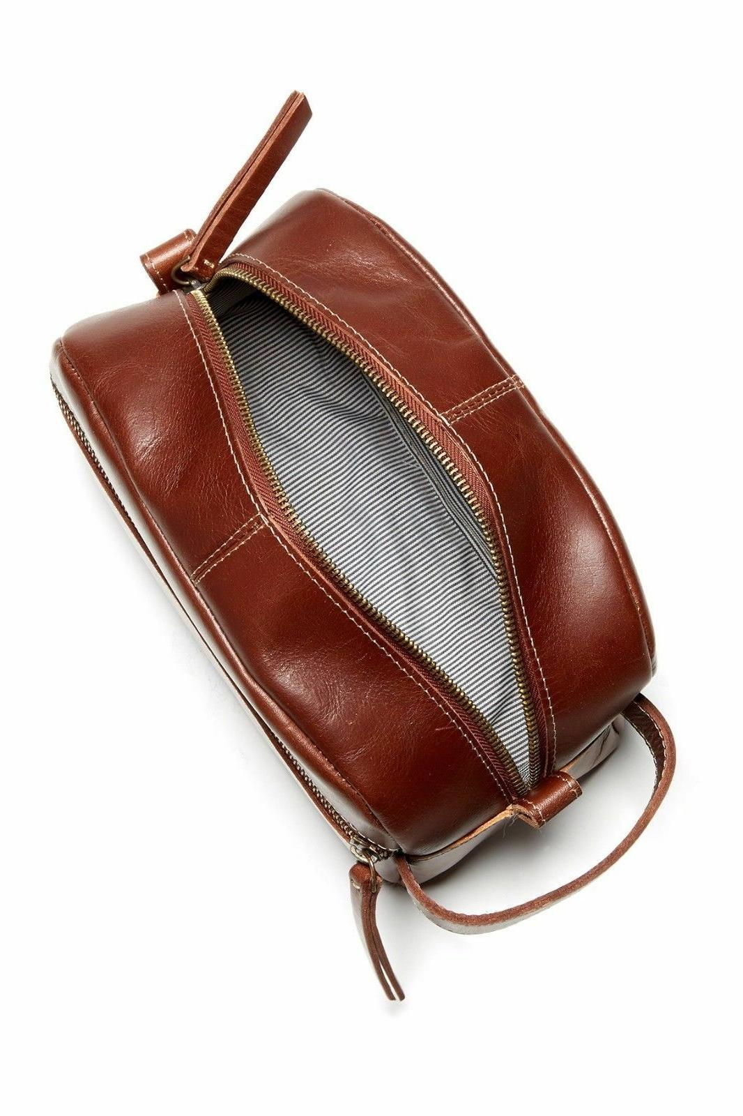 Timberland NEVADA LEATHER TRAVEL KIT TOILETRY BAG Cognac NP0353-35