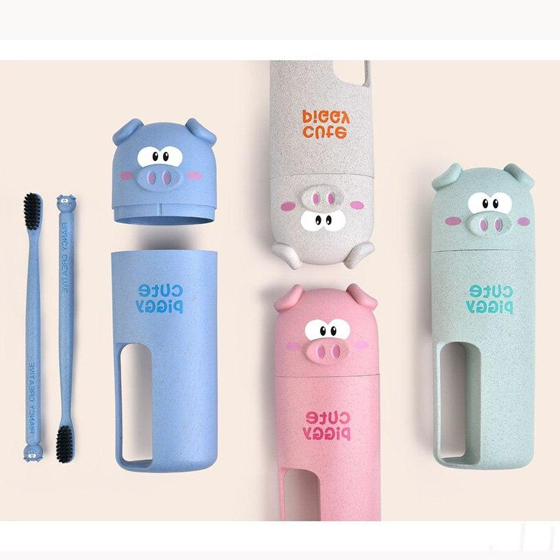New One Set Cute Cup <font><b>Travel</b></font> Color <font><b>Toothbrush</b></font> Wheat Straw Safety