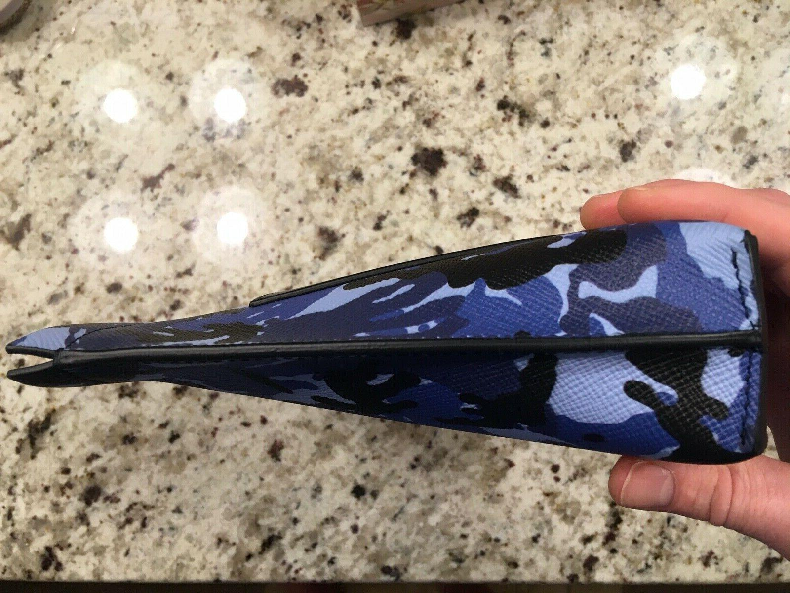 Smythson Leather camo blue New Dopp kit