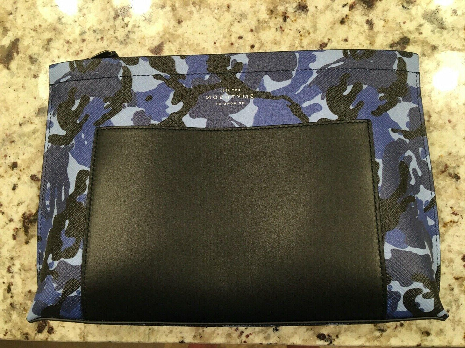 panama travel pouch leather camo blue new