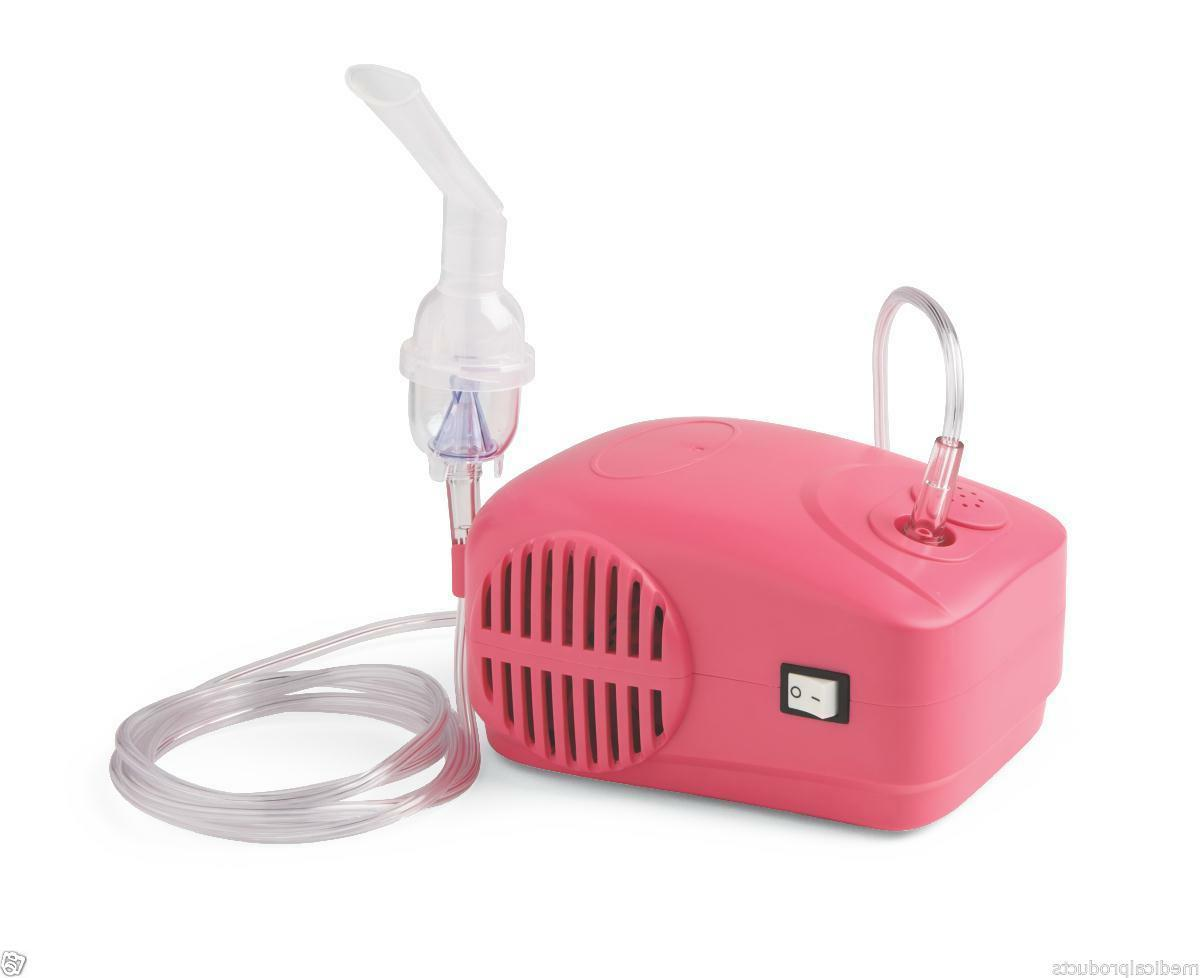 PINK Compact Portable Travel Nebulizer Compressor System wit