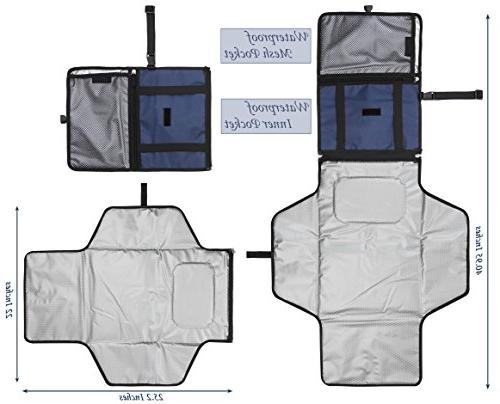 Crystal Smile Changing Pad - Clutch Station Kit Diapering Entirely Padded, Detachable - Pockets Cream