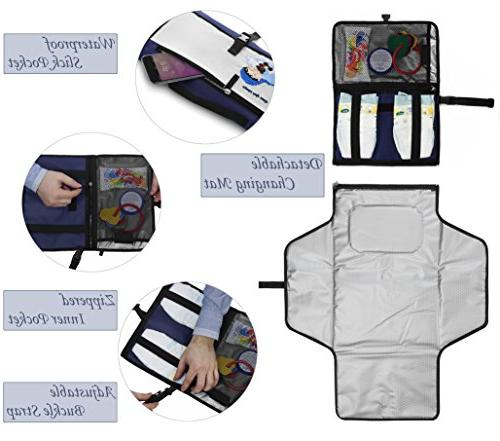Crystal Changing - Diaper Clutch - Travel Station Kit Diapering Detachable and Wipeable - Pockets Blue and Cream