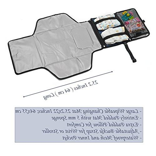 Crystal Changing Pad Clutch - Lightweight Travel Station Diapering Padded, Detachable Wipeable - Pockets