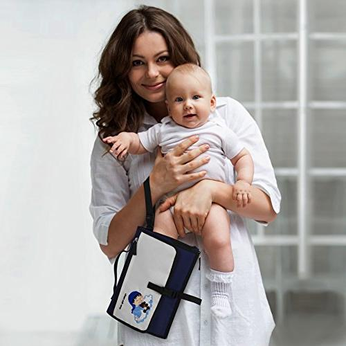 Crystal Baby Changing - Station for Detachable Wipeable - Mesh Pockets - Blue and Cream