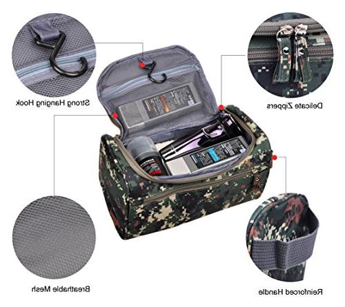 Mens Travel Toiletry Bag Hanging Organizer Kit Accessories, Camouflage Mosaic