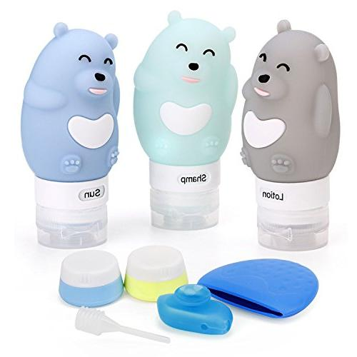 Travel Bottles Set 9 Pack, ieGeek Leak Proof Silicone Refillable Squeezable Travel Sets Cosmetic Approved Free Shampoo/Conditioner/Lotion/Soap