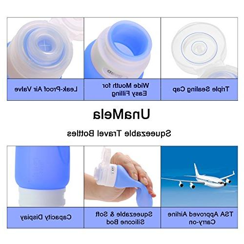 Silicone Leak Proof Travel Toiletry Bottles FDA,TSA Approved with Toothbrush Cover,Labels Clear Travel