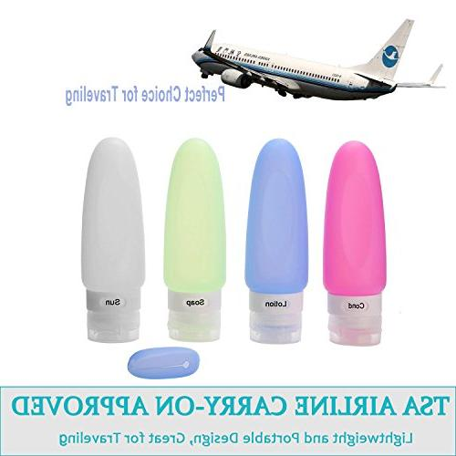 Silicone Travel Leak Proof Travel FDA,TSA with Clear Bag Shampoo,Lotion,Conditioner
