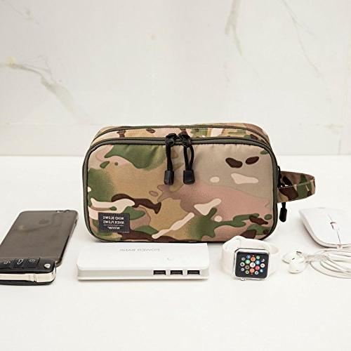 GOHIGH Toiletry Bag Women Canvas Cosmetic Shaving Double Compartments,Green Camo