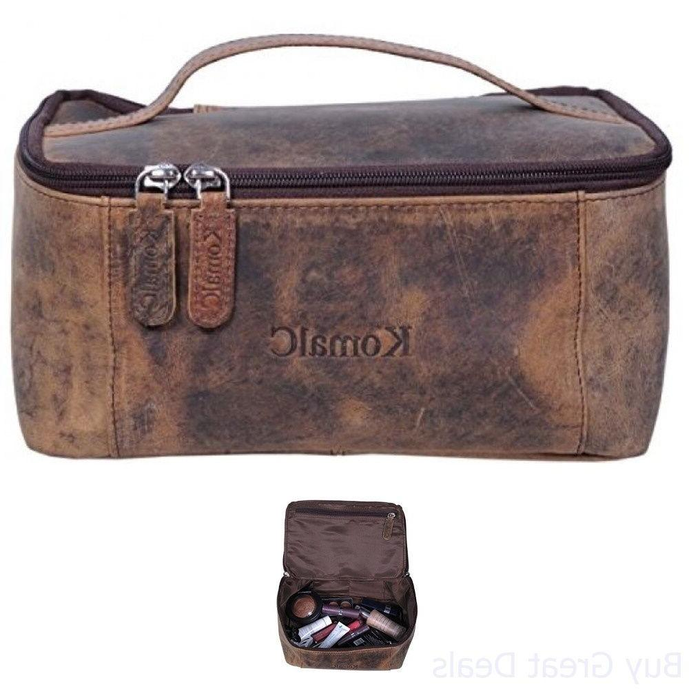 Toiletry Bag Case Travel Shaving Kit Leather KomalC Genuine