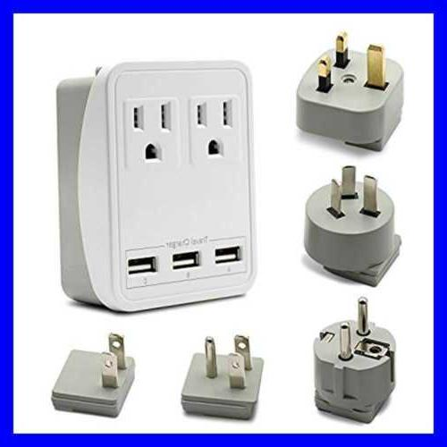 Travel Adapter Charger W/Triple 2.4A USB Ports + 2 Plugs Fo