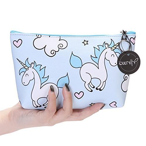 Hinwo Unicorn Cosmetic Premium PU Leather Travel Makeup Bag Organizer Unicorns Clutch Pouch Holder Zippered Closure for and Set