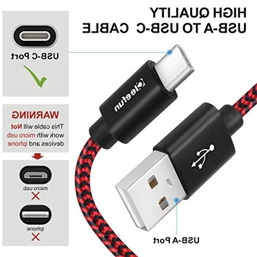 USB Cleefun Fast Braided Type C Charger Charging Galaxy S9 S8 Plus S8+ G6 Moto G6 Pixel 2 xl,Black/Red