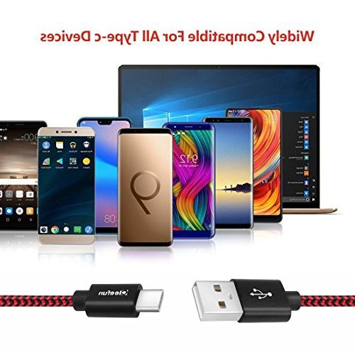 USB C Cable , Cleefun Fast Braided Type Charging Samsung Galaxy Plus S8+ Note Moto Z Pixel 2