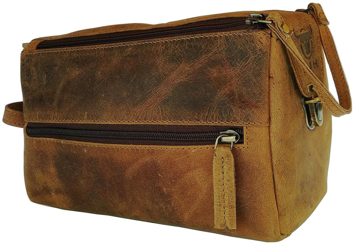 Vintage Leather Canvas Travel Toiletry Bag Shaving Dopp Kit