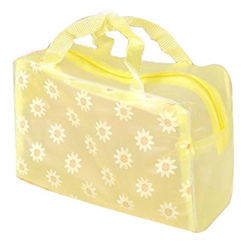 yellow floral transparent waterproof pouch