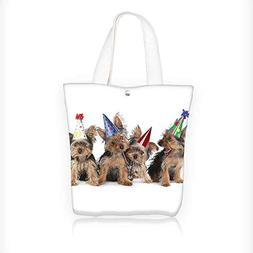 Ladies canvas tote bag Yorkshire Terrier Puppies with Party