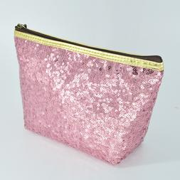 lady's cosmetic bag toiletry organizer sequins refreshing bl
