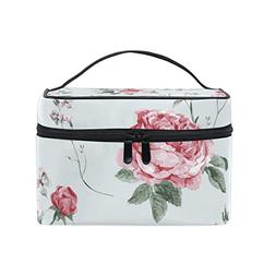 ALAZA Large Multifuncation Pink Small Roses Cosmetic Bag Mak