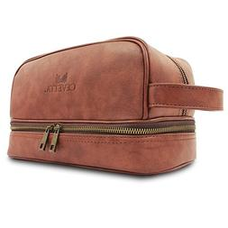 Cevetta Leather Toiletry Bag For Men  with free Travel Bottl